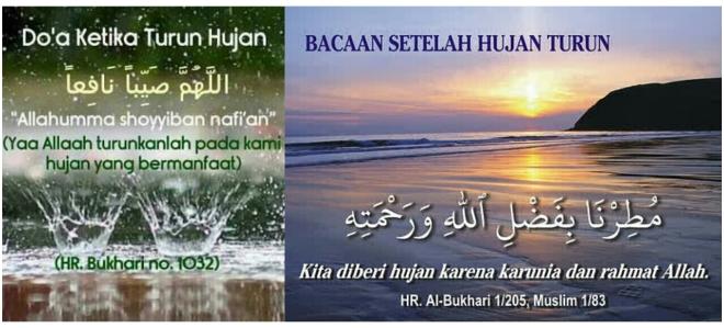 Doa ketika hujan dan zikir lepas hujan