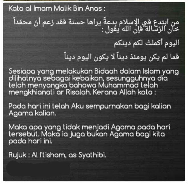 Imam Malik tentang bidaah nampak baik.